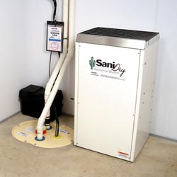 An ENERGY STAR® Rated basement dehumidifier installed in a home in Binghamton
