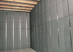 SilverGlo™ insulation and metal studs making up our Basement to Beautiful™ panels.  Installed in Liverpool.