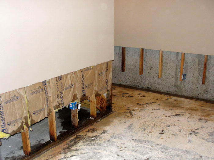 Water Once The Drywall Has Been Cut Away And All Other Damaged Wood Studs Insulation Have