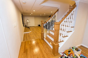 Finishing touches for a remodeled basement in Utica