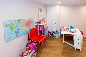 Children's playroom installed in a Binghamton basement