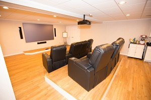 A basement turned into a home theater in Syracuse