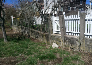 a retaining wall installed in Utica