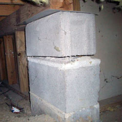 Collapsing crawl space support pillars Potsdam