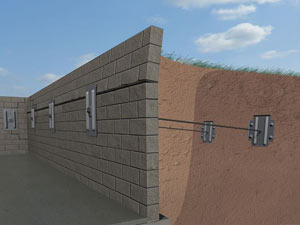 A graphic illustration of a foundation wall system installed in Oneonta