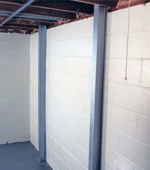 A PowerBrace™ i-beam foundation wall repair system in Syracuse