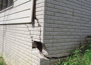 A severely damaged foundation wall in Endicott