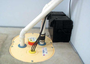 Vestal installation of a submersible sump pump system
